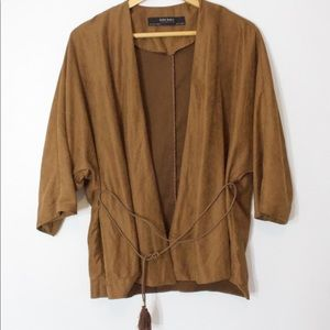 ZARA faux suede dark tan jacket/blazer Medium